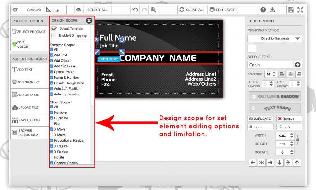 Product configurator tool template builder
