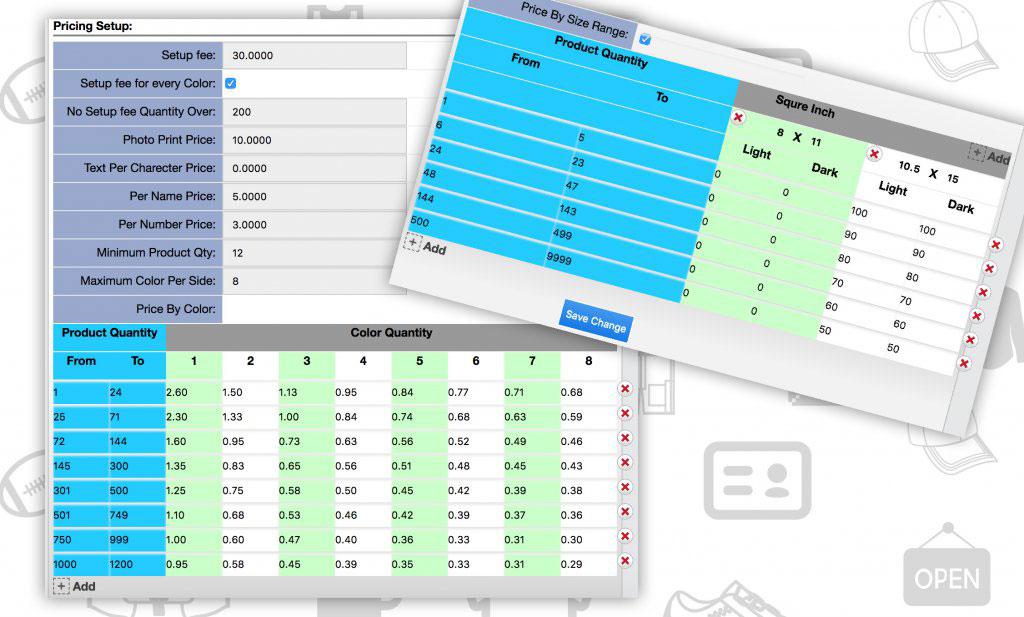 Product designer printing price setup