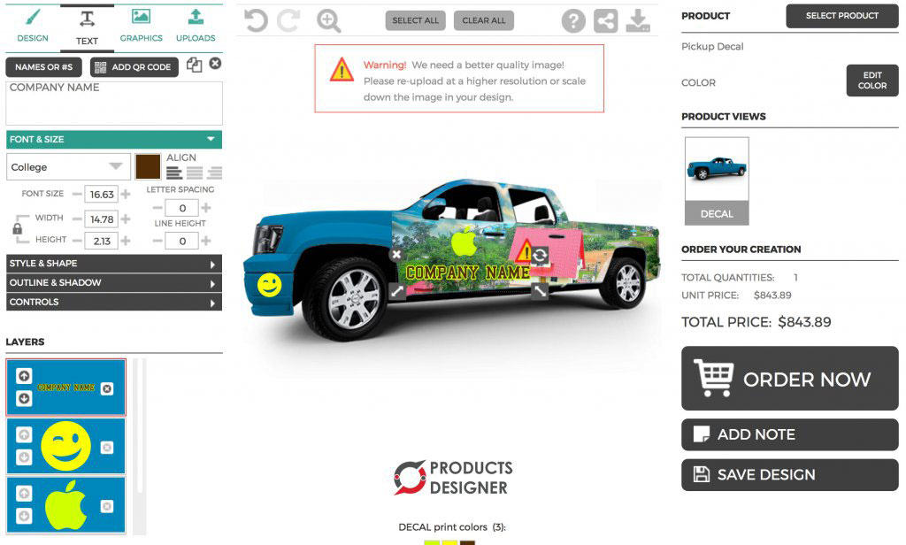 Decal designer software