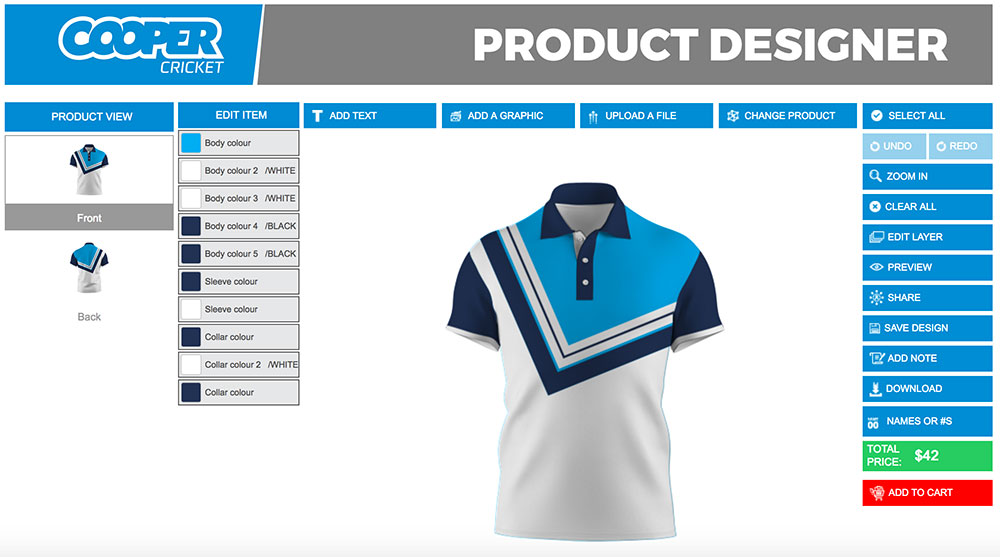 Polo shirt designer product customization software