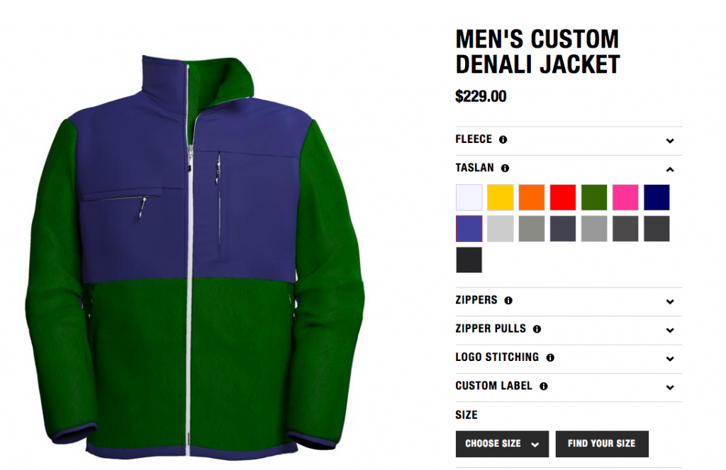 Product Customizer E-commerce Brand Example Northface